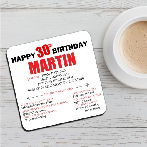 Personalised Happy 30th Birthday Drinks Coaster N49 Any Name